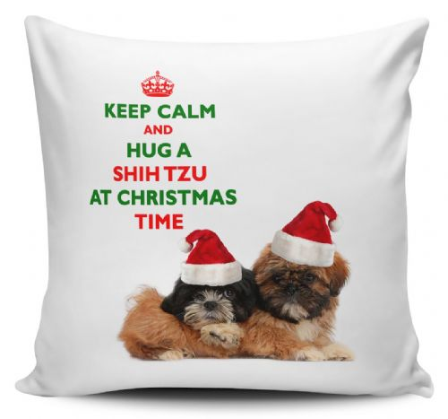 Christmas Keep Calm And Hug A Shih Tzu Novelty Cushion Cover